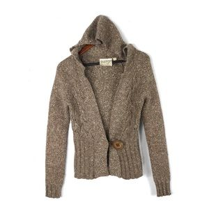 Anthropologie Kenji hooded cardigan wool button S